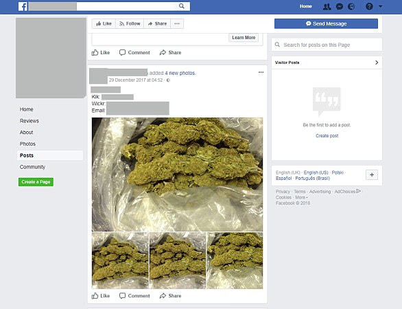 Shameless: One of the Facebook pages advertising cannabis