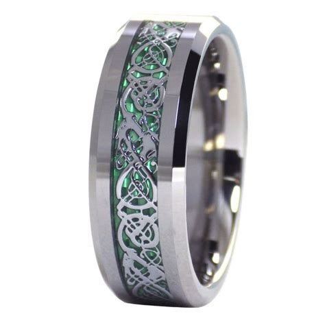 Green Celtic dragon ring Mens womens tungsten ring size 6