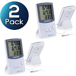 Insten 2x Digital Indoor Humidity Thermometer Hygrometer LCD Indoor / Outdoor Temperature Portable for Humidity Meter Home, White