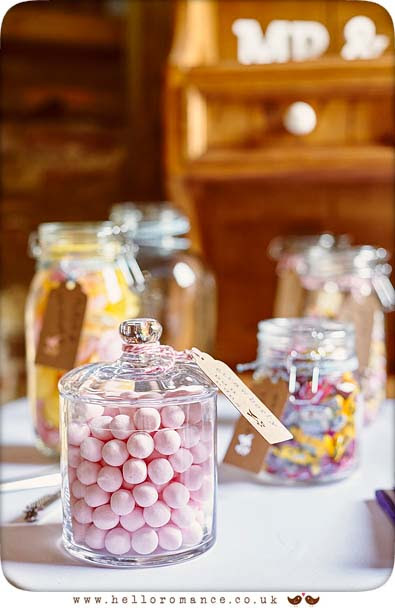 A vintage styled sweet bar at a wedding in Hawstead, Suffolk - www.helloromance.co.uk
