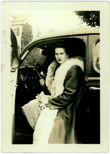 Woman, fur, car