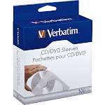 VERBATIM AMERICA, LLC CD/DVD PAPER SLEEVES WITH CLEAR WINDOW - 100PK BOX 49976