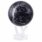 "MOVA Globes MOVA Silver Constellation Globe 4.5"" Square Wood Base - Natural"