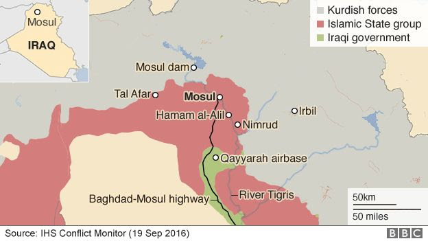 Map of Mosul and Iraq