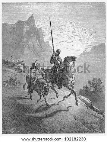 Don Quijote and Sancho Panza - Picture from The History of Don Quixote book,  published in 1880, London - UK. Drawings by Gustave Dore. - stock photo
