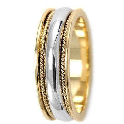 Two Tone Wedding Band Comfort 14k White Yellow Gold