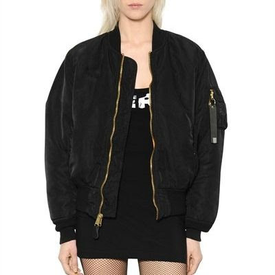 Black Satin Quilted Bomber #2