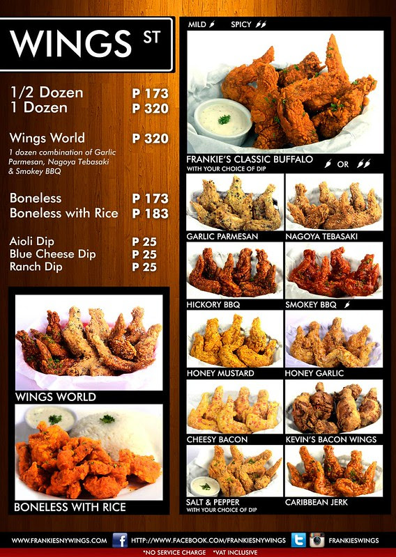 Frankie's Buffalo Wings Menu