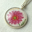 Personalised Art Pendant Necklace Pink Flower - Folksy | Craft Juice