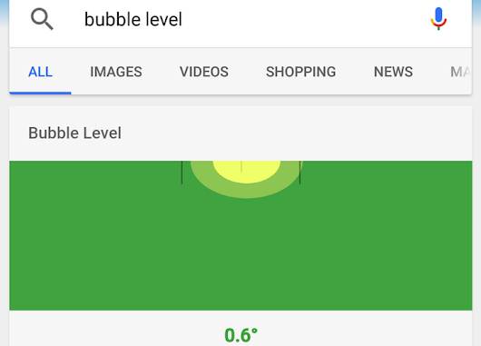 "Searching ""Bubble Level"" In Google On Your Phone Gives You An Interactive Bubble Indicator"