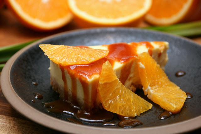 Orange Ginger Cheesecake with Spiced Coconut Caramel