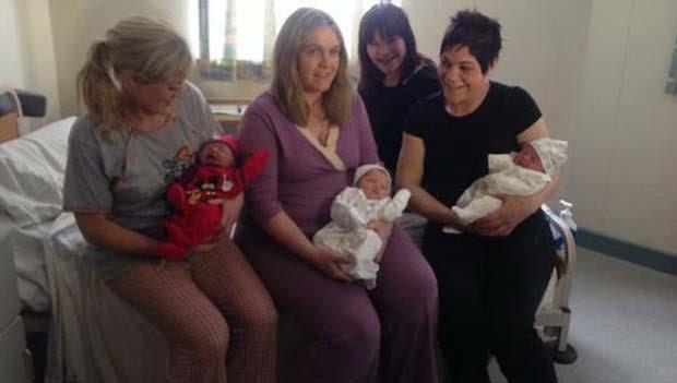 Irmãs sabiam que estavam no mesmo estágio das gestações mas se surpreenderam, pois tinham diferentes datas previstas para o parto (Foto: RTE/ BBC)