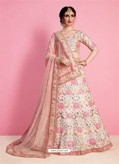 Buy Cream And Light Pink Silk Desinger Wedding Lehenga