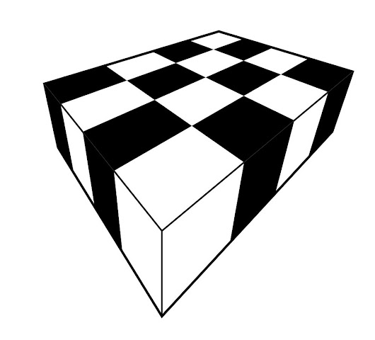 Draw a chessboard in perspective view, using straightedge only
