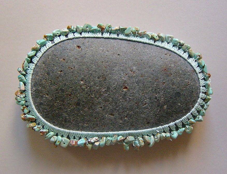 Art Object, Mixed Media, Crochet Lace Stone,Table Decorations, Home Decor, Original, Handmade, Turquoise, Mint, Gray Stone