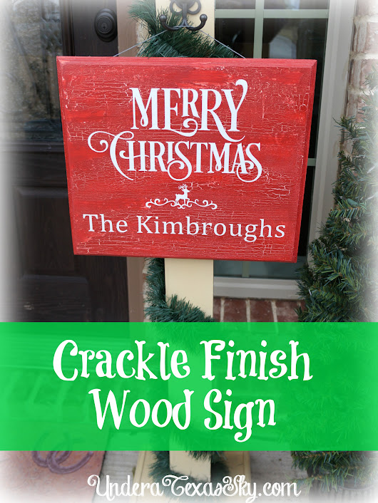 Crackle Finish Wood Sign - Under a Texas Sky