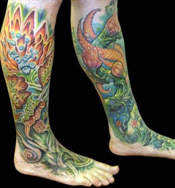Hyperspace Studios Tattoos Collaborative Flower Leg To Foot