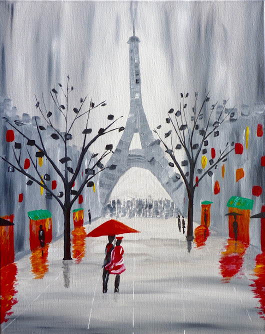 A Romantic Evening in Paris - Acrylic Painting