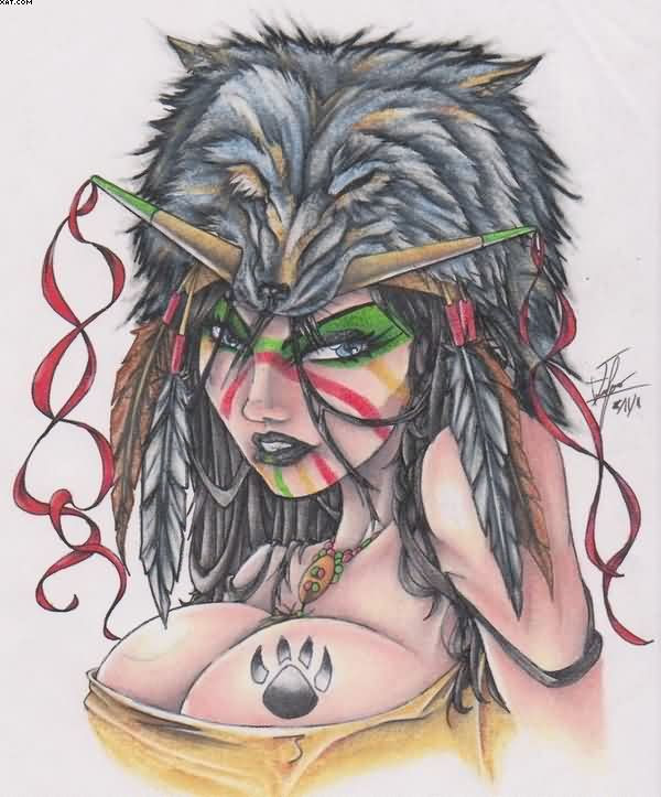 Tattoos Afbeeldingen Native American Indian Girl Wolf Head Tattoo