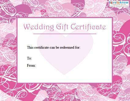 Printable Wedding Gift Certificates   LoveToKnow