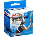 Mueller Sports Medicine Kinesiology Tape Pre-Cut Strips, Blue, 0.23 Pound