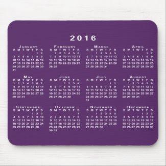 White 2016 Calendar on Custom Purple Mousepad