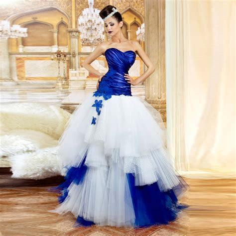 Strapless Sweetheart Ball Gown Royal Blue And White