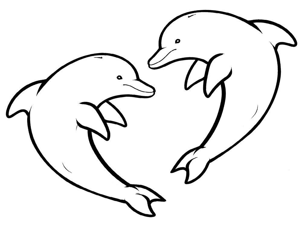 Delfines Dibujos Animados Infantiles Para Colorear