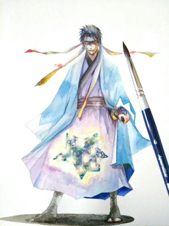 水彩絵の具で人物画個性的な女性の描き方一時間で完成色塗り方