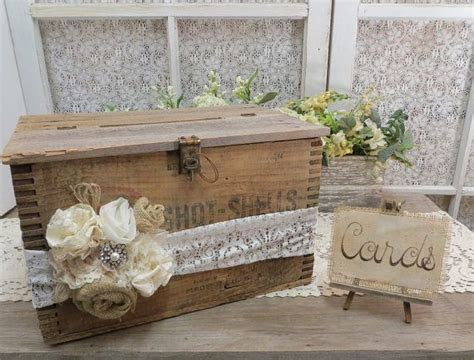 Vintage Wood Shot Shell Case Wedding Card Box   The box