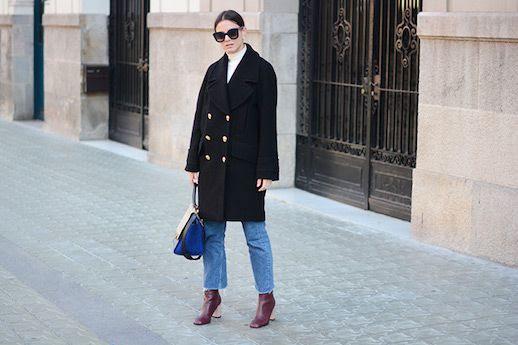 Le Fashion Blog White Turtleneck Double Breasted Coat Vintage Levi Jeans Heeled Boots Via Fashion Vibe