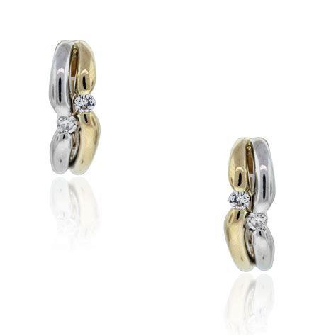 18k Two Tone .20ctw Diamond Huggie Earrings