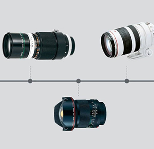 Three L-series lenses on a grey background