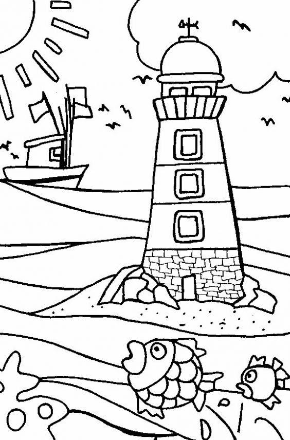 Dibujo De Faro En La Playa Para Colorear Dibujos Infantiles De Faro