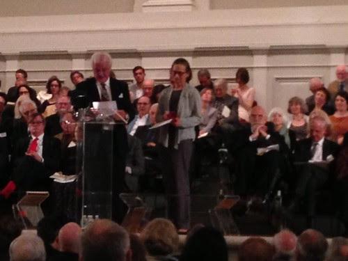 Lydia Davis receiving the Award of Merit