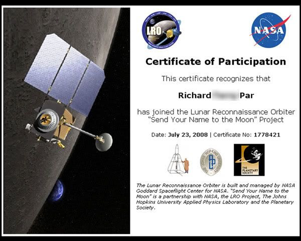 A certificate commemorating my participation in the 'Send Your Name to the Moon' project.
