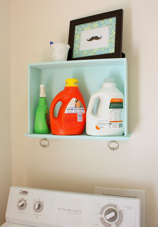 DIY: Old Drawers become Laundry Room Storage