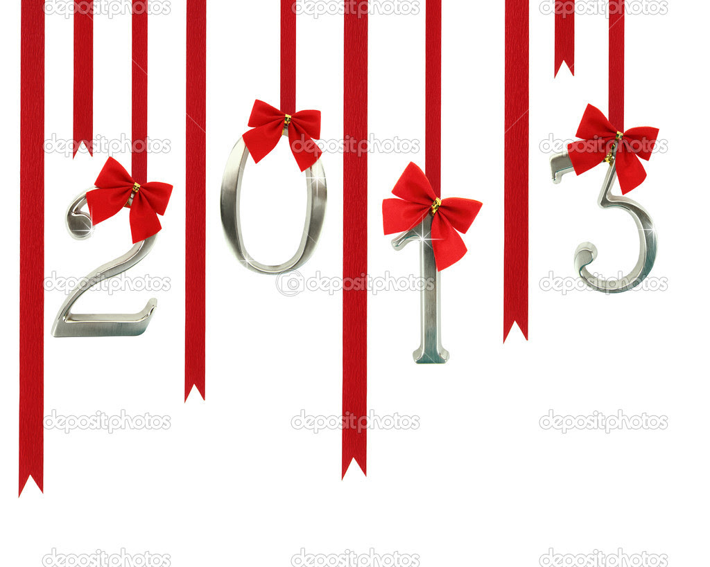 2013 calendar ornaments hanging on red ribbons — Stock Photo ...