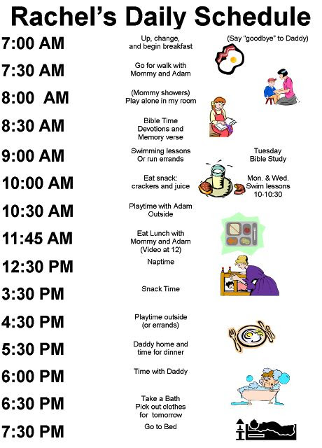 examples kids daily schedules-of course i would have to tweek this ...
