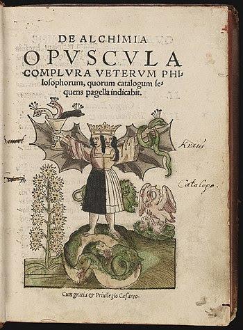 "English: ""De Alchimia opvscvla complvra v..."