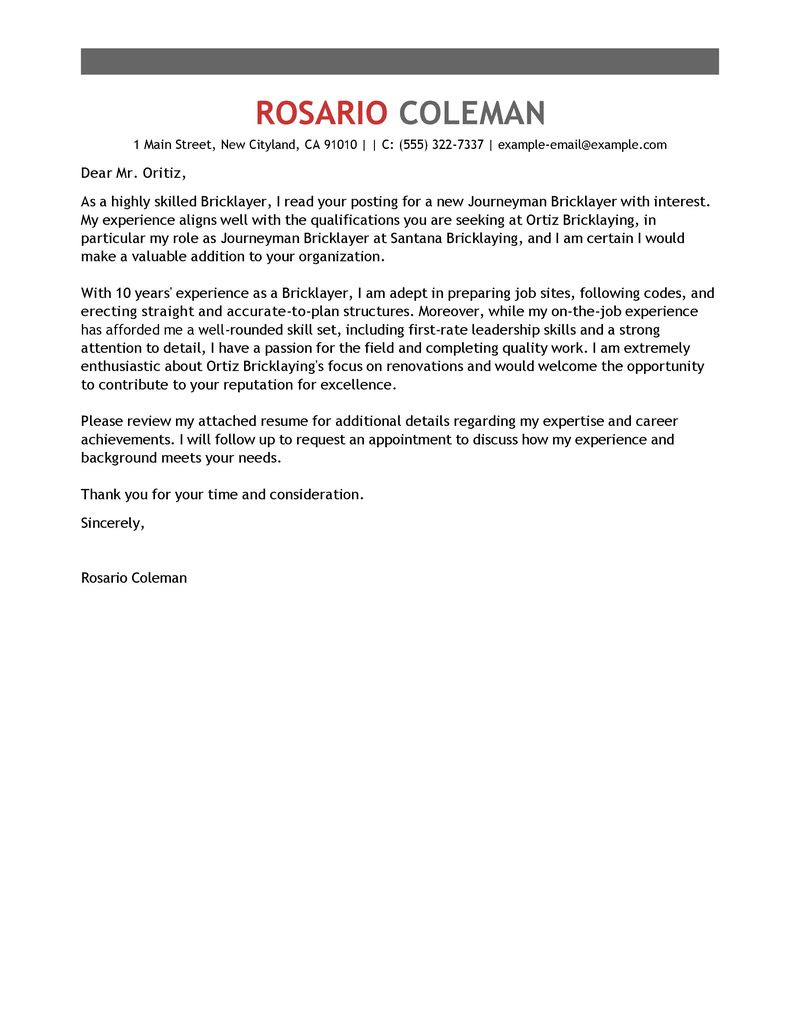 Journeymen Masons Bricklayers Cover Letter Examples ...