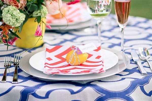 citrus inspired place setting, styled by daisies & pearls, captured by Justina Bilodeau Photography