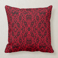 Red with Black Lace Vintage Style Pillow throwpillow
