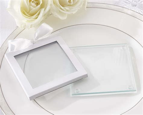 White Glass Coaster Gift Sleeve (Set of 12)   Kate Aspen