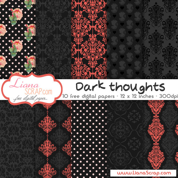 Free digital paper pack – Dark Thoughts Set