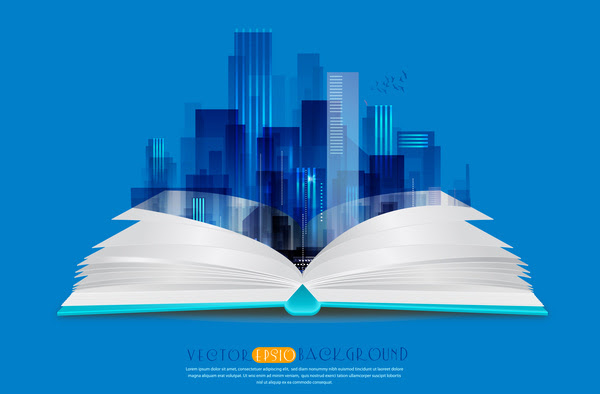Latar Belakang Vektor Ilustrasi Dengan Buku Dan Gambaran Lanskap