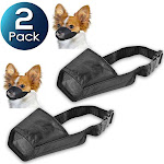 "2 Pack Insten Dog Muzzle Guardian Gear Black Fabric Nylon Adjustable No Bite Bark Size 5.5"" 5.5 inch"