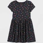 Girls' Short Sleeve Printed Knit Dress - Cat & Jack Charcoal M, Grey