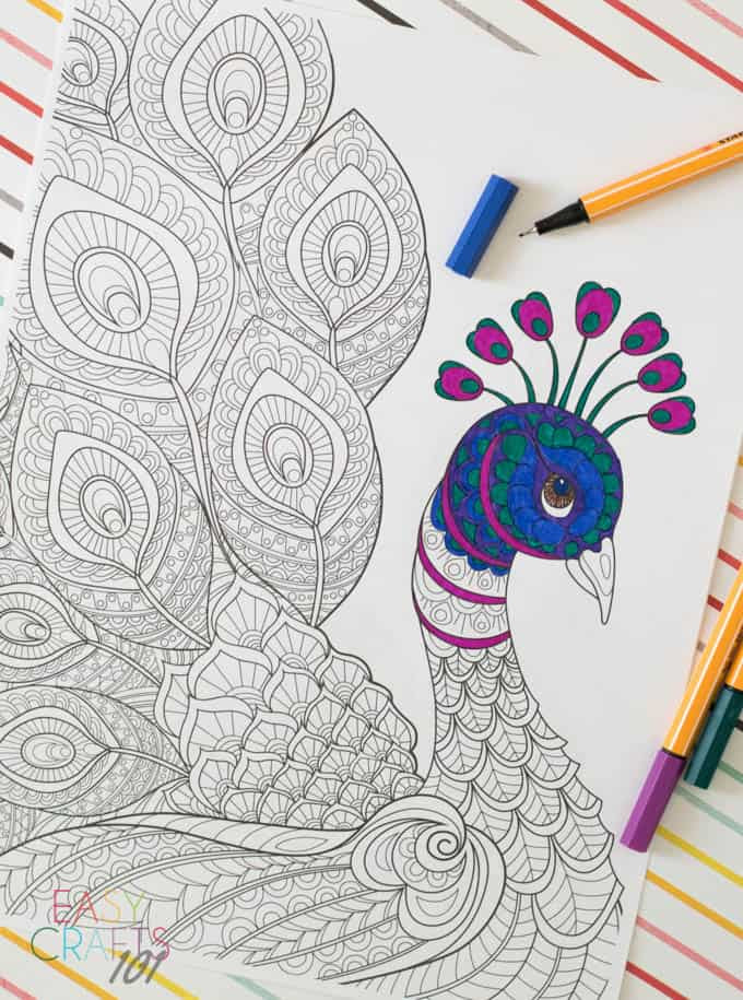 Free Adult Coloring Page: Peacock - Easy Crafts 101