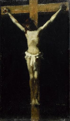 Jean-Jacques Henner, CHRIST EN CROIX [ JEAN-JACQUES HENNER, CHRIST ON THE CROSS, OIL ON PANEL. ]